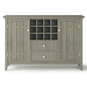 Bedford SOLID WOOD 54 inch Wide Transitional Sideboard Buffet and Wine Rack i...