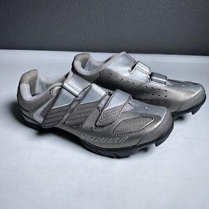 Specialized Riata Womens 6.5 Silver Cycling Bike Shoes Shimano SM-SH56 Cleats