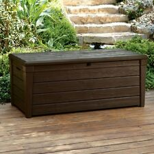 Storage Deck Box Outdoor Container Bin Chest Patio Keter 120 Gallon Bench Brown