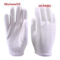 10 Pairs White Gloves Inspection Cotton Work Jewelry Lightweight Hight Quality