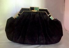 JUDITH LEIBER NEW ART DECO STYLE BLACK SUEDE CLUTCH / BAG WITH STONES