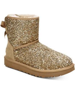 NIB - UGG Women's CLASSIC MINI BOW COSMOS GOLD SUEDE SHEEPSKIN BOOTS - SIZE 7