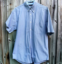 Tommy Hilfiger Button Down Men's 80's 2-ply Fabric SS Dress Shirt Size Large