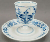 Meissen Porcelain Blue Onion Egg Cup With Attached Under Plate Circa 1860 - 1924