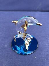 2 Clear Glass Dolphins Porpoise Figurines on Blue Mirrored Glass Base Collect