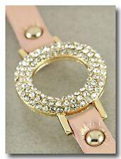 Beautiful Circle Crystal Sparkle Bracelet on Pink Shimmer Leather Band