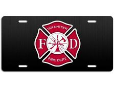 Volunteer Firefighter License Plate - Maltese Cross Fire Dept Auto Tag Car Truck