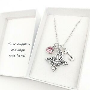 Butterfly Pendant Necklace Jewellery Gift, Personalised Initial / Birthstone