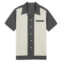 Mens Clothing Rockabilly Shirts Plus Size Retro Bowling Shirts Mint Green