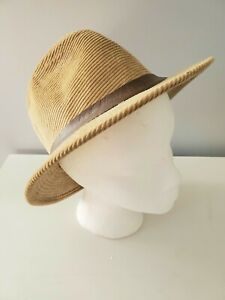 Vintage Mens Tan Corduroy Hat