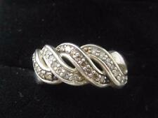 QVC AFFINITY STERLING SILVER & DIAMOND WOVEN 8MM RING BAND - SIZE 5.75