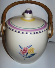 Old Luscious Poole Pottery Biscuit Cookie Jar, Hand Painted English, Lid, Handle