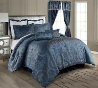 8-Piece Geometric Mandala Medallion Symbol Jacquard Comforter Set, Soft Blue
