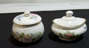 2 x Vintage Aynsley Fine Bone China Wild Tudor Small Lidded Trinket Pots