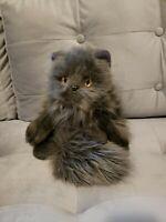 """15"""" MIYONI AURORA BABY KITTY LAYING PERSIAN CAT Gray STUFFED ANIMAL PLUSH TOY"""