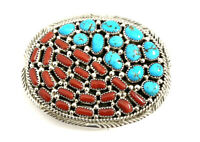 Native American Sterling Silver Navajo Handmade Coral With Turquoise Belt Buckle