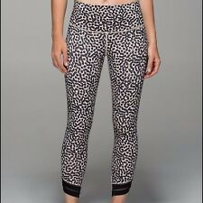 Lululemon High Times Pants SE Wrap Mesh Ace Spot Grain Black Size 2 EUC