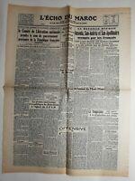 N249 La Une Du Journal L'écho du Maroc 16 mai 1944 comité libération nationale