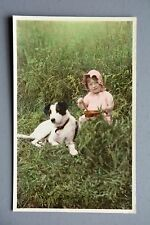 R&L Postcard: Vintage Portrait of Young Girl in Sun Hat & Jack Russell Terrier