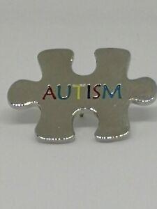 Autism Lapel Pin Badge Silver Jigzaw Badge