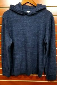 Men's GAP Hooded Sweater Cotton Blend Blue Heather Hoodie Pullover MED