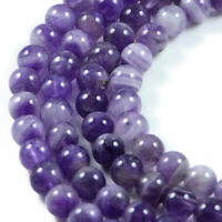 Semi-Precious Light Amethyst 8mm Round Gemstone Jewellery Making Beads on 15 ...