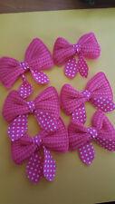 6pcs -Crochet Hot Pink Bows - Gorgeous