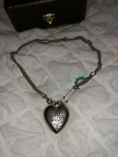 Juicy Couture Queen Of Couture Silver Heart Locket Choker Chain Necklace In Box