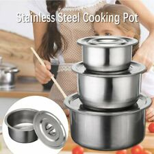 3 Pcs Stainless Steel Stock Pots Set with Lids Cooking Kitchenware Pot Casserole