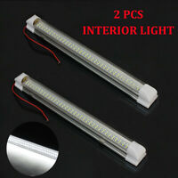 12V 72 LED Car Interior White Strip Lights Bar Lamp Van Caravan ON OFF Switch