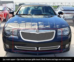 Fits 2004-2008 Chrysler Crossfire Stainless Chrome Mesh Grille Insert Combo