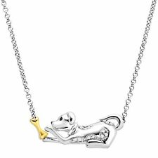 Dog & Bone Necklace with Diamonds in Sterling Silver & 14K Gold