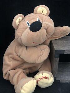 FISHER PRICE 1993 Tan Brown Rumple Bear Floppy Plush Soft Happy Stuffed Animal