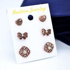 6Pcs/set Women Mini Cute EarStud Stylish Shiny Rhinestone Earring Ear Nail
