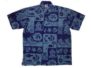 Mens Hawaiian Style Cotton Batik Shirt blue Holiday Beach Cruise Fish Deckchair