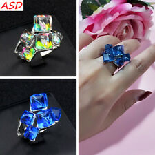 Fashion Cube Blue Square Solid Crystal Silver Ring Women Evening Party Jewelry