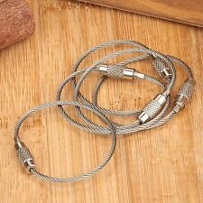 5pcs 200mm EDC Stainless Steel Aircraft Wire Rope Key Chain Ring Pandent Loop
