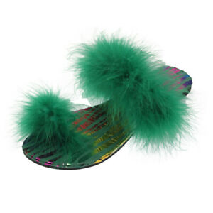 Slip Ladies Faux Fur Slippers Summer Feather Thong Open Toe Strap Sandals Shoes
