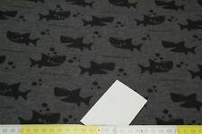 16,90€/m Stoff Sweat Wintersweat Kuschelsweat Haie Fische schwarz grau meliert