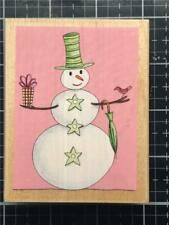 New Rubber STAMPS HAPPEN vintage BORDE winter SNOWMAN with GIFT  Free USA ship