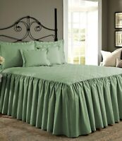 """29"""" Drop Dust Ruffle Quilted Bed Spread with Pillow sham 800 TC Egyptian Cotton"""