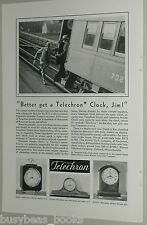 1931 Telechron Clock advertisement page, mantle clocks, running late for train