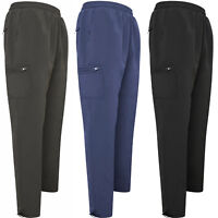 MENS FLEECE LINED WINTER THERMAL ELASTICATED WORK TROUSERS CARGO COMBAT PANT NEW