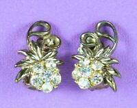 Vintage Domed Rhinestone Earrings Gold Tone Clip On