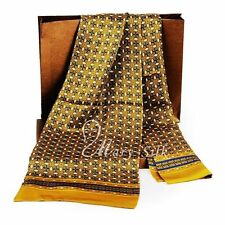 "Mens 100% Silk Long Scarf/Cravat Scarives Double Layer Yellow 63""X12"" ●M002#"