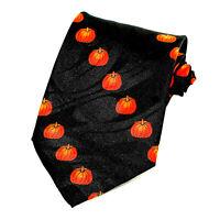 Autumn Pumpkins Men's Neck Tie Holiday Halloween Thanksgiving Black Necktie