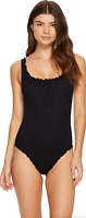 Seafolly Black Havana Tank Maillot One Piece Swimsuit Women's Size 6 USA 16803