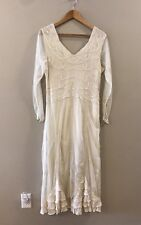 Age of Love by Nataya Ivory Victorian Vintage Style Embroider Ruffle Dress Large