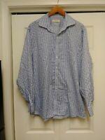 Michael Kors Non iron Long sleeve Button Blue Check Shirt Mens 17 1/2 34 35 L