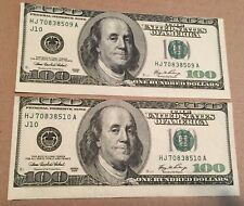 2006 US America 2 Consecutive $100 Bill Note Error Mistake Cut Print Shifted Up